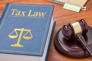Tax Law book and Gavel